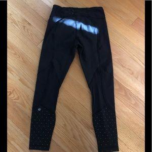Lulu lemon pants with gold polka dots full length